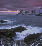 Odins Leap, A, Lofoten, Norway, coast, raw, forbidding, harsh, dramatic, rough, seas, snow, peaks, seething, clouds, dra photo