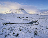 On a Winters Day, Glencoe, Highlands, Scotland, fabulous, winter, summit, Buachaille, golden, hue, blue, snow, palette   photo