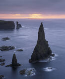 One Step Beyond, Duncansby Stacks, Caithness, Scotland, spectacular, rays, light, pool, pink, twilight, blue, sea, islan photo