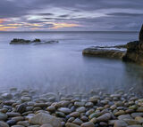 Pastel Serenity, Cove Bay, Moray, Scotland, sunset, ambient, light, twilight, cove, soft, blue, pebbles, sea, beach photo