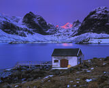 Pink Cone Krystad, Little Krystad, Lofoten, Norway, rorbrua, boat shed, white, sunrise, blood, conical, peak, mountains, photo