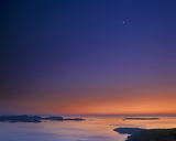 Planet Suite, Polbain, Inverpolly, Scotland, sunset, tangerine, midnight, blue, planets, crescent, moon, Venus, Jupiter  photo