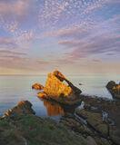 Portknockie Gold, Portknockie, Moray, Scotland, evening, summer, sunlight, cliff, Bow Fiddle rock, golden, dusk, flecked photo