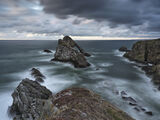 Portknockie Steel, Portknockie, Moray, Scotland, moodiest, Bowfiddle Rock, summer, low pressure, swell, exploding, blue photo