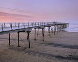 Promenade, Saltburn Pier, Yorkshire, England, pier, beautiful, sundowner, stroll, dinner, evening, twilight, red, blue  photo