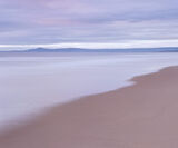 Pure Silk, Lossiemouth, Moray, Scotland, dawn, uncurled, grey, summer, sky, red, sand, beach, waves, tide, ethereal   photo