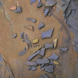 Quarry Chippings, Loch Awe, Assynt, Scotland, intimate, appealing, rock, slab, chippings, slate, sandstone, pattern, pla photo