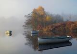 Quiet Corner Rusky, Loch Rusky, Trossachs, Scotland, pleasant, autumnal, misty, gentle, flanl, illuminated, row boat, su