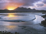 Radiance Ben Loyal, Ben Loyal, Tongue, Sutherland, tide, Kyle of Tongue, estuary, drained, salt water, mud, channels photo