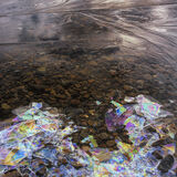 Rainbow Frieze, Loch A Chroisg, Achnasheen, Scotland, winter, freezing, skin, ice, glaze, thin, interference, patterns,  photo