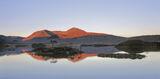 Rannoch Mirror, Rannoch Moor, Glencoe, Scotland, special, cloudless, sky, reflections, blue, gradient, warm, sun, hills photo