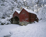 Red Shed, Blairs Loch, Forres, Scotland, boat, corner, shed, fishing, snow, Christmas card, dilapidated, character, red photo