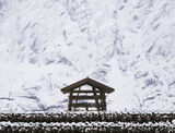 Reine Pagoda, Sakrisoy, Lofoten, Norway, posh, pagoda, Cod, racks, symmetry, perspective, blizzard, mountain, faded, ice photo