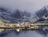 Reine Sublime, Reine Harbour, Lofoten, Norway, gloom, mood, blue, ruggedness, mountain, heavy, clouds, sunlit, harbour,  photo