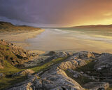 Rosamol Gold, Traigh Rosamol, Harris, Scotland, transient, sunset, Taransay, beach, storm, sea, sublime, coast    photo