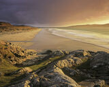 Rosamol Sublime, Traigh Rosamol, Harris, Scotland, beach, pleasure, Taransay, sun, cloud, golden, light, magical  photo