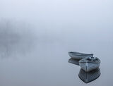 Rusky Blues 2, Loch Rusky, Trossachs, Scotland, two, pale blue, wooden, row boats, angling, calm, mirror, reflections, t