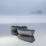 Rusky Boats 1, Loch Rusky, Trossachs, Scotland, becalmed, perspective, island, mist, trees, morning, tranquil