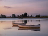Rusky Dusk, Loch Rusky, Trossachs, Scotland, sunrise, pre-dawn, pinken, powder blue, wooden, boats, glow, tethered, trou photo