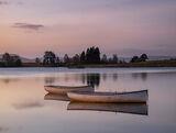 Rusky Dusk, Loch Rusky, Trossachs, Scotland, sunrise, pre-dawn, pinken, powder blue, wooden, boats, glow, tethered, trou