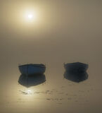 Rusky Gold 2, Loch Rusky, Trossachs, Scotland, pair, pale blue, rowing boats, wood, serenely, mirror, sun, mist, hull, e photo
