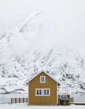 Sakrisoy Mimicry, Sakrisoy, Lofoten, Norway, classic, mustard, rorbrua, shape, peak, behind, faded, prespective, mimicin photo