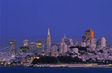 San Francisco Twilight, San Francisco Bridge, Califonia, USA, skyline, crossover lighting, ambient, artificial, velvet,  photo