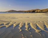 Sand Tongues, Traigh Lar, Harris, Scotland, golden, sand, tidal pool, coarse, waves, beach, reflected, furrows, blue photo