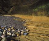 Sandstone Shelf, Cummingston, Moray, Scotland, sea caves, contrast, low tide, vacate, treasures, colourful, geological,  photo