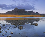 Scottish Gold, Loch Hakel, Sutherland, Scotland, gold, bar, vein, hills, twilight, reflection, blue, rocks, exposed photo