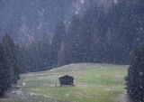 Twilight Rendezvous, Alpbach, Austria, Europe, snow, windless, field, hut, lone, figure, snowflakes, sinister photo