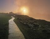 Shining Path, Victoria Falls, Zimbabwe, Africa, difficult, light, path, massive, gorge, orange, mist, spray, blowing, su photo