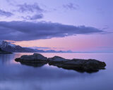 Silent Night, Hamnoy, Lofoten, Norway, sunset, twilight, blue, snow, ridge, reflection, sea, pink, afterglow, haze, calm photo