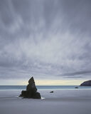 Silent Sentinel, Sango Bay, Durness, Sutherland, single, spire, rocks, black, deserted, sunrise, summer, patterned, sky  photo