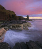 Sinclair Dusk, Noss Head, Caithness, Scotland, Wick, Castle Girnigoe, Castle, Sinclair, castle, ruins, cliffs, sea, extr photo
