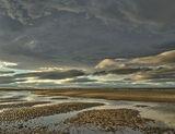 Sliver of Light, Findhorn, Moray, Scotland, wave, light, sunlight, heavy, cloud, fleetingly, sand spit photo
