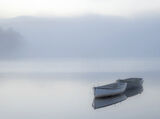 Slumbering Boats Rusky 2, Loch Rusky, Trossachs, Scotland, row boats, blue, slumbering, pre-dawn light, birch trees, sof photo