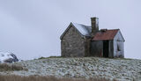 Snow Dusted Shack, Elphin, Assynt, Scotland, cold, twilight, snow, sprinkled, icing, hilltop, winter, grey, Inverpolly,  photo