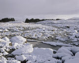 Snow Glascarnoch, Glascarnoch, Highlands, Scotland, snow, boulders, rocks, spherical, mounds, stream, shallow, tumbles  photo