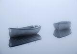Still Rusky 1, Loch Rusky, Trossachs, Scotland, blue, tinged, mirror, pre-dawn light, mist, movement, ethereal, magical,