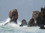 Storm Dail Mhor, Dail Mhor, Lewis, Scotland, gusting, westerly, winds, huge, pounded, beach, plumes, spray, wave  photo