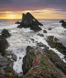 Storm Fiddle, Portknockie, Moray, Scotland, pink, thrift, summer, sunrise, grey, sea, Bowfiddle rock, golden, turbulent  photo