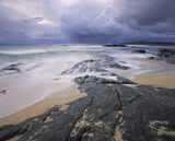 Storm Force Traigh Mhor, Traigh Mhor, Harris, Scotland, west, coast, storm, enveloping, heavy, cloud, wind, orange, sand photo