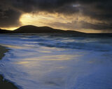 Stormlight Traigh Mhor, Traigh Mhor, Harris, Scotland, Western Isles, Lewis, waves, sand, golden, blue, spume, sunset photo