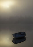Sublime Rusky 2, Loch Rusky, Trossachs, Scotland, evocative, golden, mist, discernible, treeline, reflection, blue, row  photo