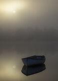 Sublime Rusky 2, Loch Rusky, Trossachs, Scotland, evocative, golden, mist, discernible, treeline, reflection, blue, row