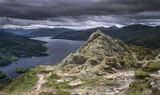 summit, view, Ben Aan, Trossachs, Scotland, view, Loch Katrine, clouds photo