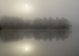Sumptuous Rusky, Loch Rusky, Trossachs, Scotland, mist, phenomena, white, sun, reflection, discs, power, diluted, trees  photo