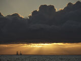 Sunburst Findhorn, Findhorn, Moray, Scotland, sunset, summer, dredger, crepuscular, rays, grey, cloud, rim, silhouette,  photo