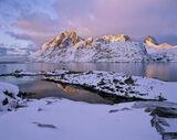 Sund Candles, Sund, Lofoten, Norway, golden, peaks, mountains, snow, burning, winter, squalls  photo
